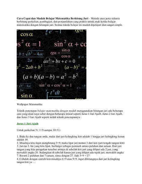 Cara Cepat Mudah Taklukkan Matematika Smp cara cepat dan mudah belajar matematika berhitung jari