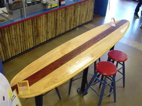 surfboard bar top surfboard repurposed into table top art and decor