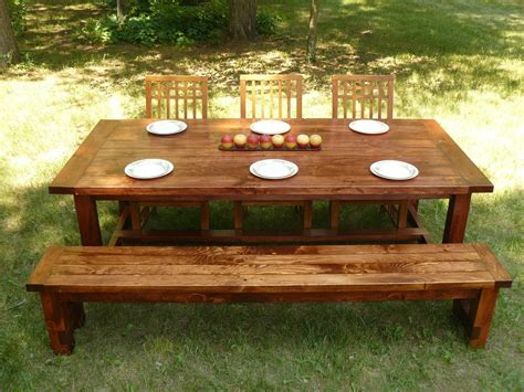 farm style dining table with bench custom made farmhouse style dining table and bench by