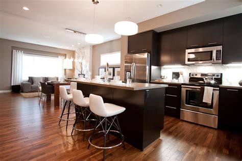 espresso hardwood floors kitchen traditional with