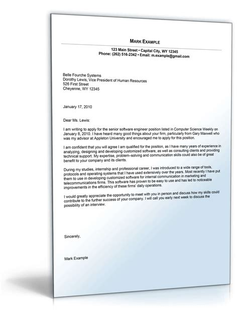 cover letter for software developer position sle cover letter for software developer position de