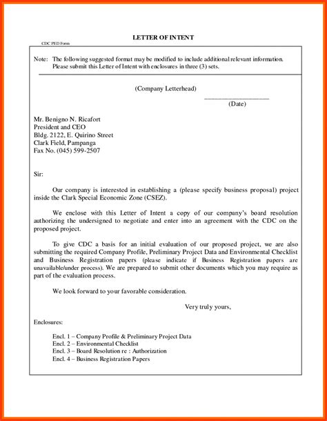 Letter Of Intent For Business Plan sle letter of intent to purchase business hire lease