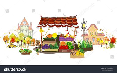 fruit 7 veg city fruit veg shop on city stock vector 118484638
