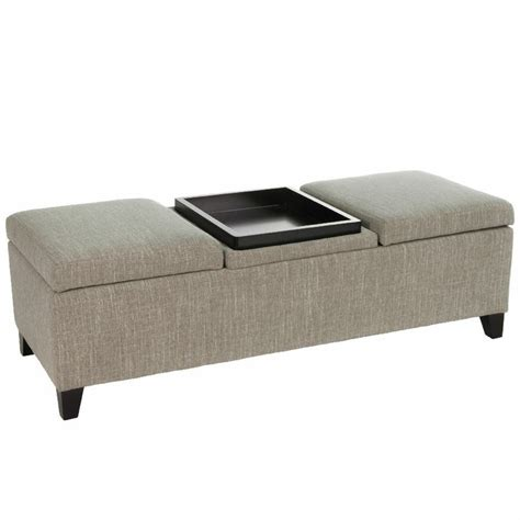 fabric ottoman with tray elegant design fabric storage ottoman with center coffee