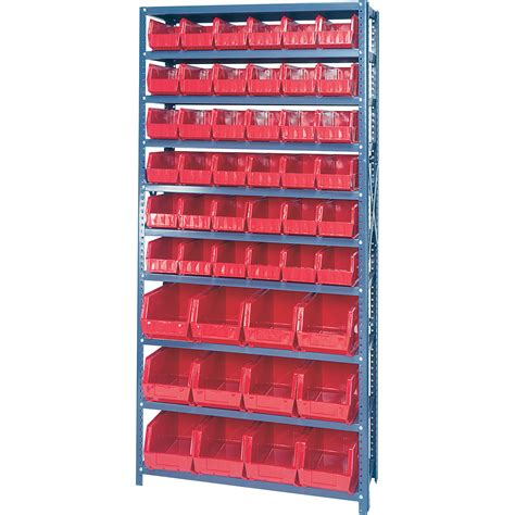 Parts Bin Rack by Quantum Storage Single Side Metal Shelving Unit With 48