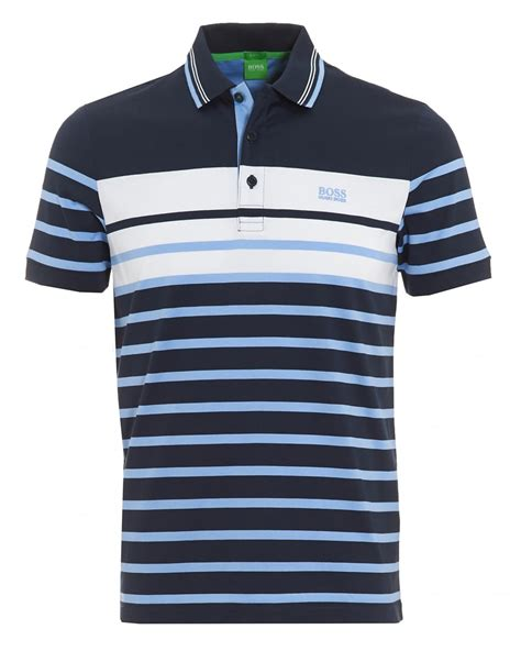 Poloshirt Stripe Navy hugo green mens paule 3 navy blue stripe slim fit polo shirt