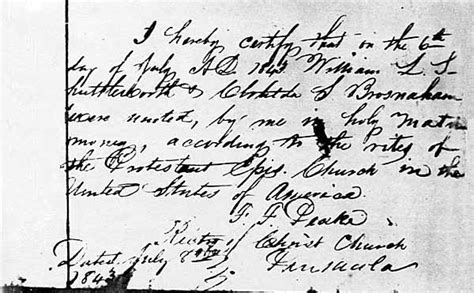 Pensacola Marriage Records Marriage Of William Louis Shuttleworth And Clotilda Santiaga Broshaham 1843