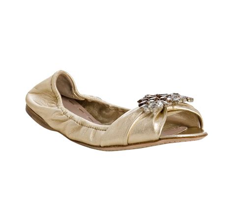 gold peep toe flat shoes miu miu gold leather jeweled peep toe flats in gold lyst