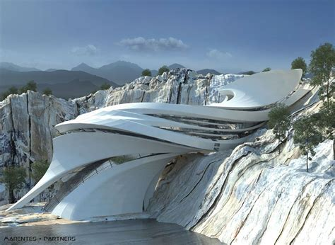 futuristic architecture in naturetrying to integrate the proyect to the natural