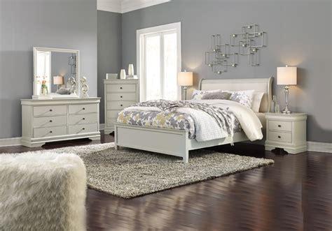jorstad gray queen upholstered sleigh bedroom set