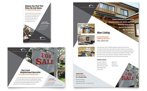 property brochure template free contemporary modern real estate flyer ad template design