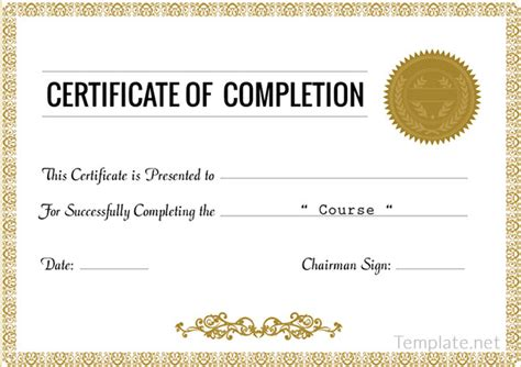 template for certificate of completion completion certificate templates 40 free word pdf psd