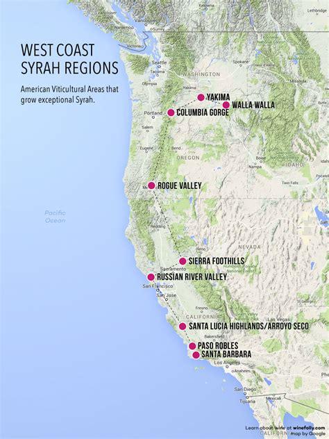 west coast in usa map treasure map of west coast syrah wine folly