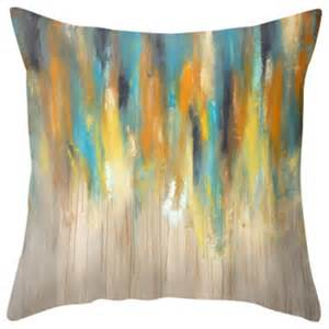 modern decorative pillows rainy throw pillow blue and yellow contemporary
