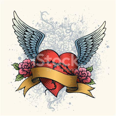 tattoo cuore e ali 心形翅膀 玫瑰和横幅的纹身 stock vector freeimages com