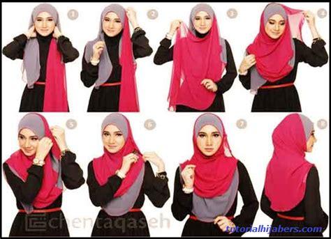tutorial hijab syar i 2 warna tutorial hijab dua warna
