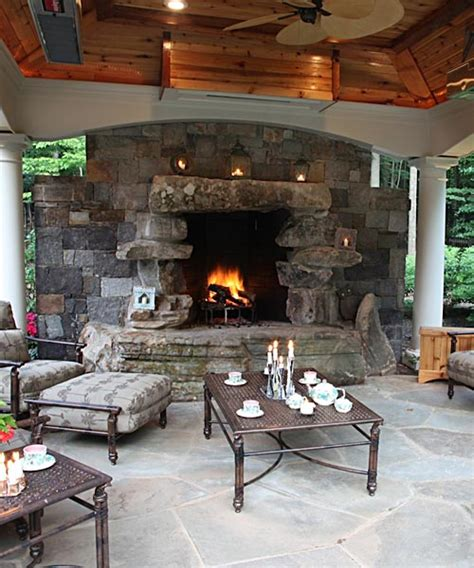 Covered Fireplace by Outdoor Fireplaces Pits In Mclean Great Falls Va