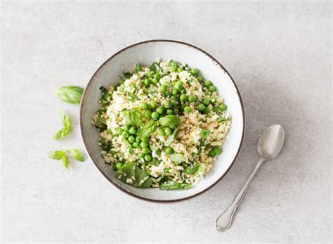 parsnip rice with hemp seeds spring peas and basil