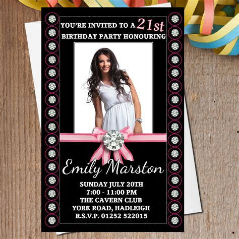 bling invitations 10 000 bling invites announcements 10 personalised bling birthday photo invitations n166