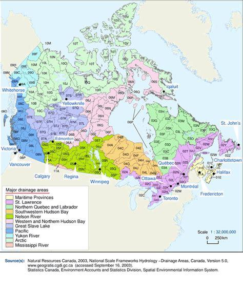 lakes of canada map major drainage areas and sub drainage areas