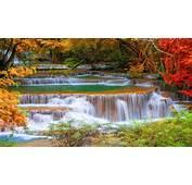 Thailand Kanchanaburi Cascade Waterfall In Autumn Trees