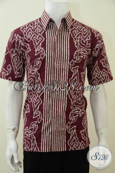 Blouse Batik Wash Mega Mendung Merah kemeja batik warna merah motif mega mendung pakaian batik pria muda masa kini til keren dan