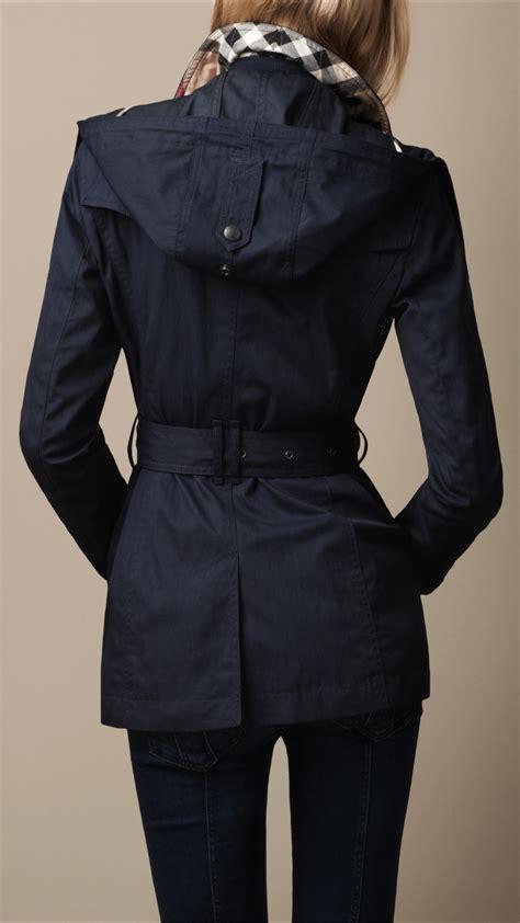 burberry brit short cotton nylon gabardine detachable hood