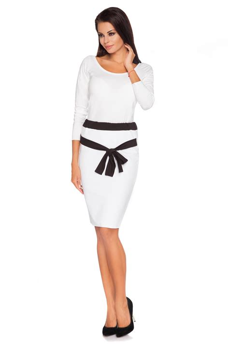 white pencil skirt with contrast stripes