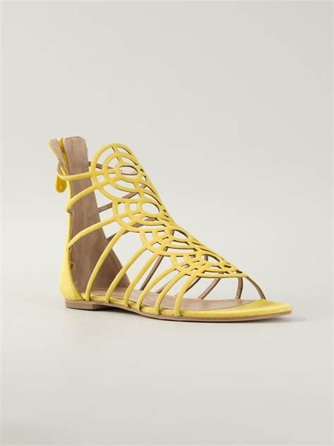 yellow strappy sandals dsquared 178 strappy leather sandals in yellow lyst
