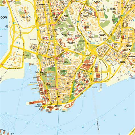 map of kowloon map hong kong city special administrative region pr