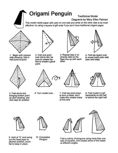 Origami Penguin Folding - january 2016 monthly feature origami page origami penguin