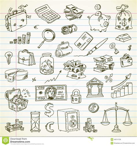 item doodle draw freehand drawing business and finance items stock vector