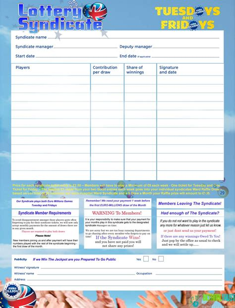 simple lottery syndicate agreement form