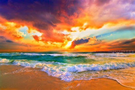 Surf Home Decor by Quot Orange Sunset Print Seascape Landscape Skyscape Quot By Eszra