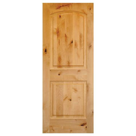 Interior Wood Doors Home Depot Krosswood Doors 30 In X 80 In Rustic Knotty Alder 2 Panel Top Rail Arch Solid Wood Left