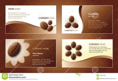Coffee Business Card Template Free by Coffee Business Card Template Stock Vector Illustration