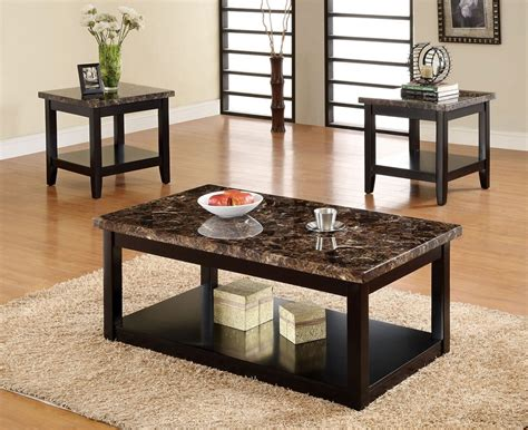 3pc lawndale faux marble top solid wood black finish