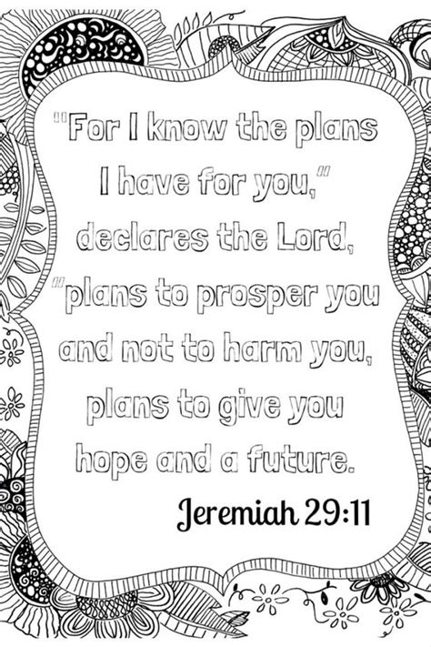 Coloring Page Jeremiah 29 11 by Scripture Meditation Free Coloring Printable