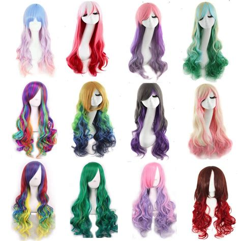 promotion color promotion long wavy ombre color ladies synthetic hair wig