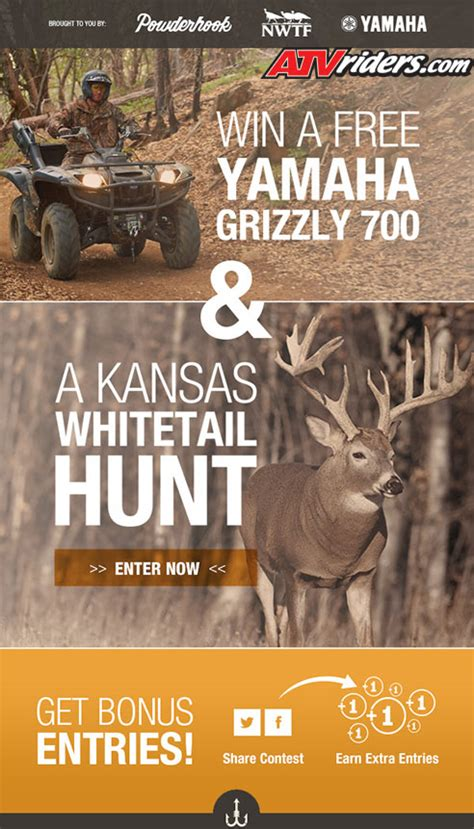 Hunting Trip Giveaways - yamaha grizzly atv hunting trip giveaway