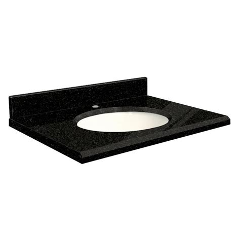 bathroom vanity tops 37 x 22 shop transolid absolute black granite undermount single