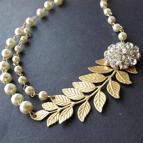 braut kette gold bridal necklace gold leaves wedding necklace