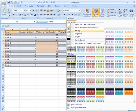 format microsoft excel 2007 create or modify a table style table format 171 table