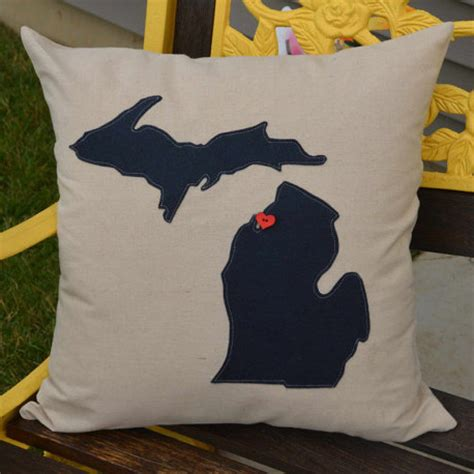 Pillow With Heartbeat by Navy Blue Michigan Pillow With