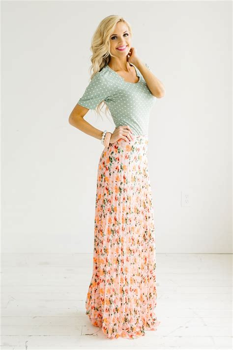 New Dress Flower Maxy 2 By pink floral pleated maxi skirt modest dresses and