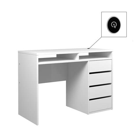 4 Drawer And 2 Shelf Computer Desk In White High Gloss High Gloss White Computer Desk