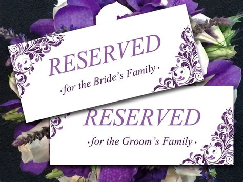 Reserved Seating Card Template Ceremony by Printable Wedding Reserved Card Template Instant