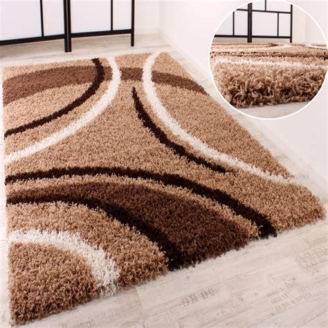 hochflor teppich shaggy teppich hochflor langflor gemustert in braun beige