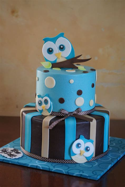 Owl Baby Shower Cakes For A by Blue Owl Themed Baby Shower Cake Baby Shower Cakes