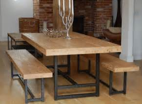 Bench Dining Tables Modern Bench Style Dining Table Set Ideas Homesfeed
